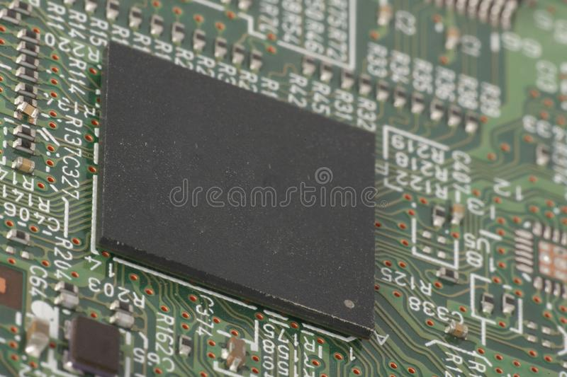 Electronic circuit board close up. Microchips and other components stock photography