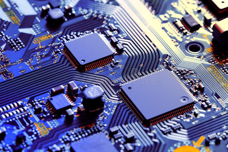 Electronic circuit board part of electronic machine component concept technology of computer circuit hardware stock images