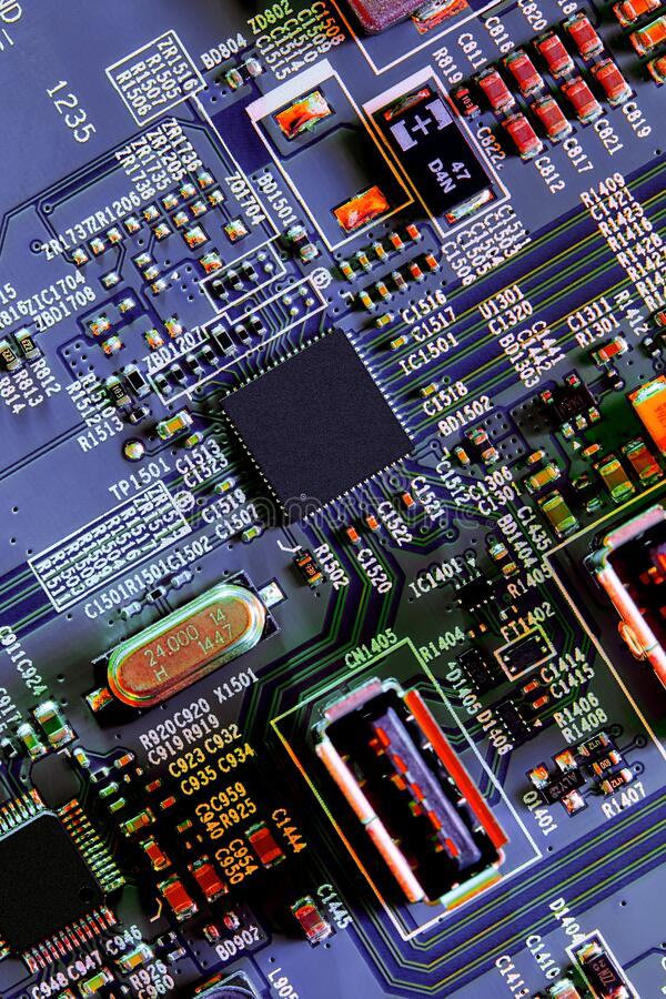 Electronic circuit board part of electronic machine component concept technology of computer circuit hardware royalty free stock photos