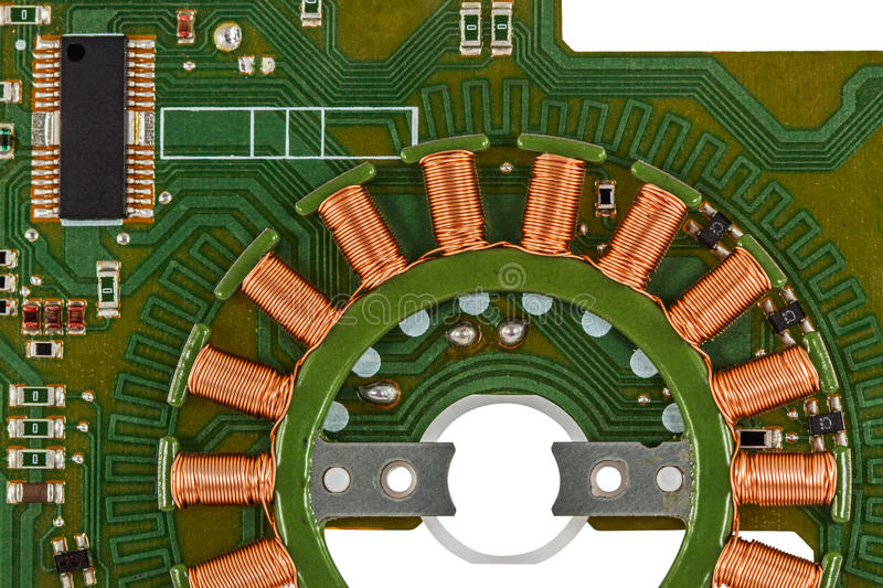 Electronic circuit board of stepper motor.  stock photo
