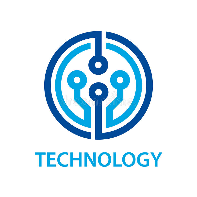 Electronic circuit board technology symbol. Illustration for the web stock illustration