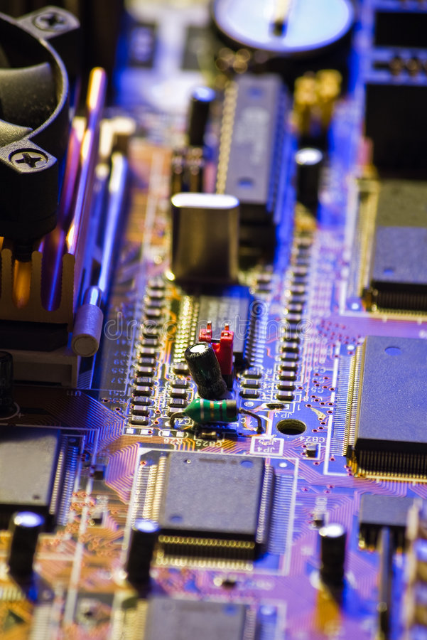 Electronic circuit close-up royalty free stock photo