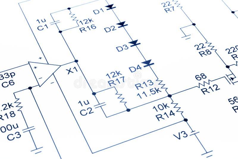 Electronic Circuit Diagram Audio Stock Photo - Image of blue, audio ...
