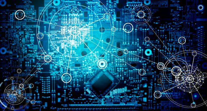 electronic circuit network grunge background stock image