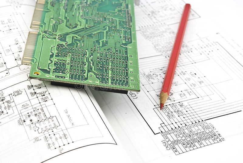 Electronic circuit plate,red pencil stock images