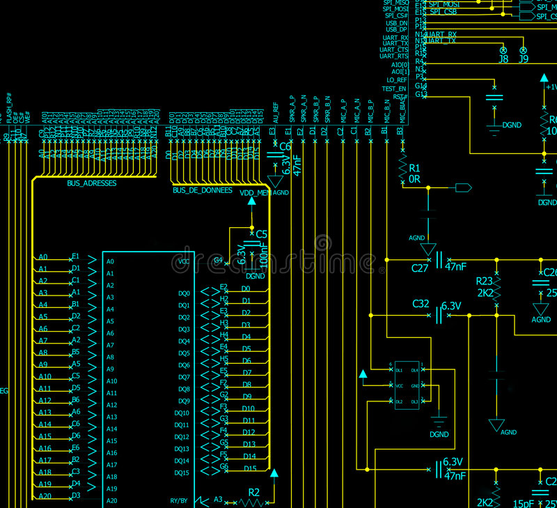 Free Electronic Circuit Schematic Royalty Free Stock Photography - 6808407