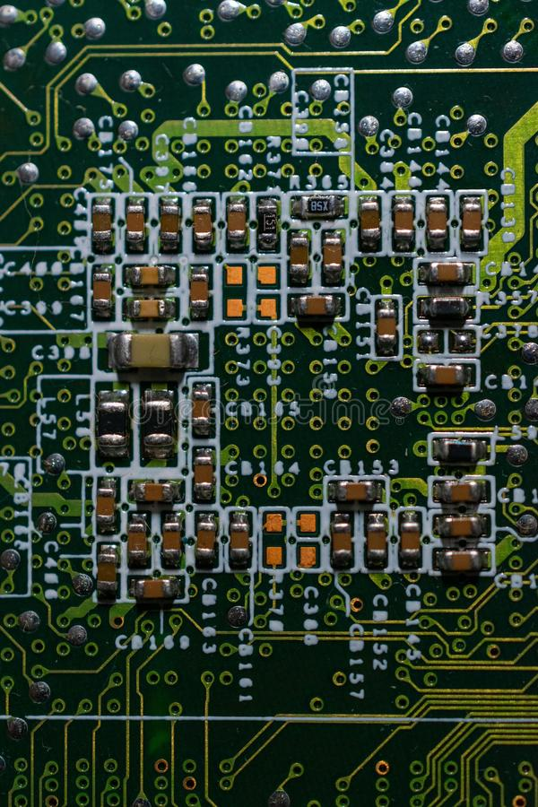 Electronic circuits and computer chips stock photography