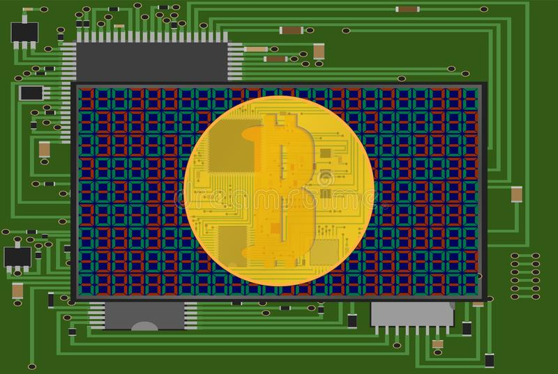 Electronic code bitcoin Vector.Bitcoin sign with computer chip. Color pattern. stock illustration