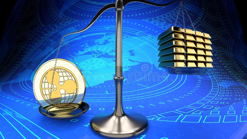Electronic coin, ripple, and gold bars on a scale stock illustration