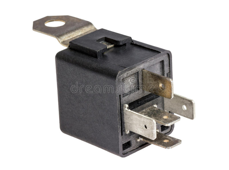 Electronic collection - Car electromagnetic relay switch. Isolated on white background royalty free stock photography