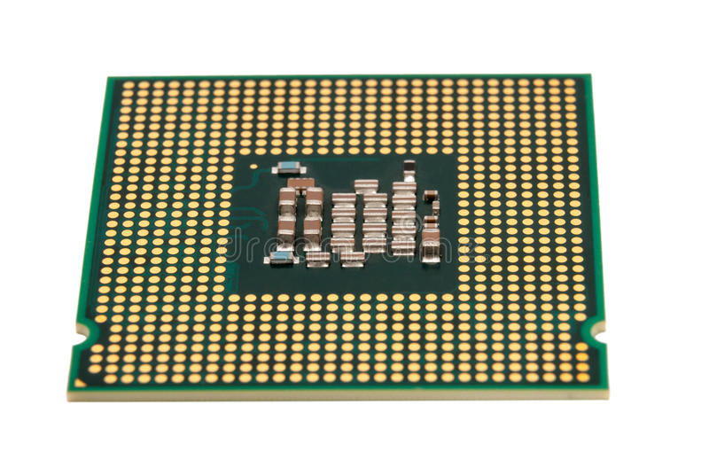 Electronic collection - Computer CPU Processor Chip isolated on. Electronic collection - Computer CPU (Central Processing Unit) chip from the bottom side royalty free stock images