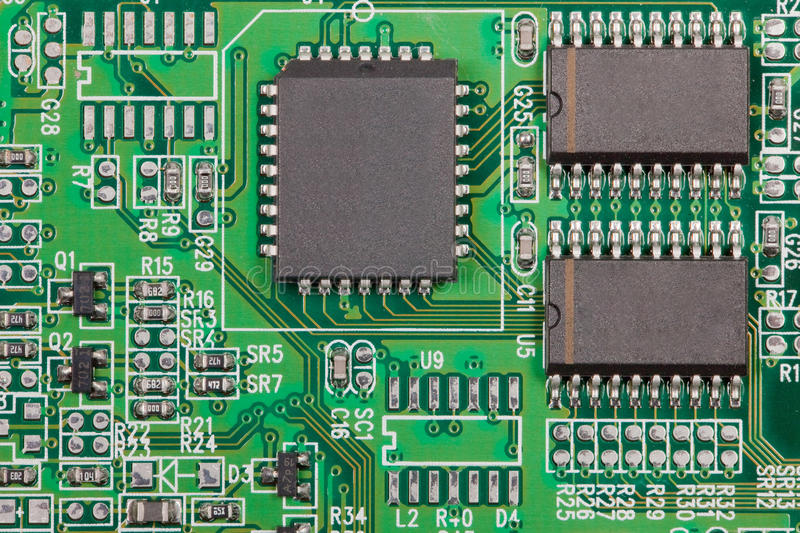Electronic component on electrical circuit. The electronic component on electrical circuit stock images