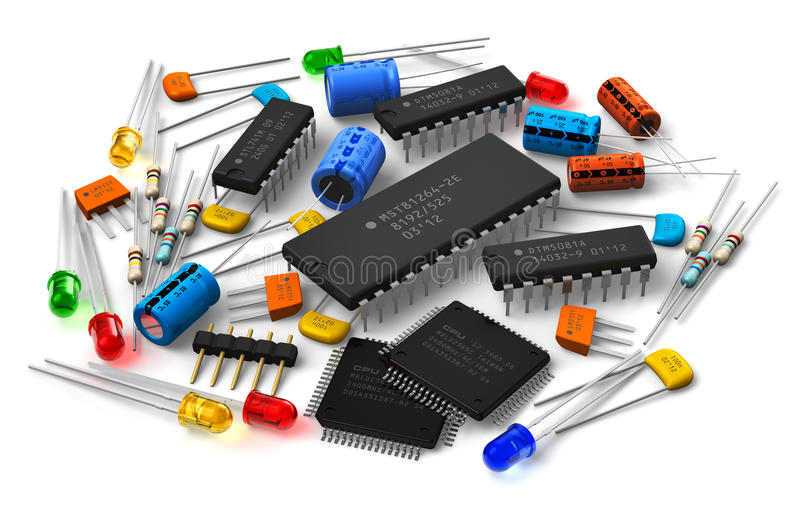 Electronic components. Group of various electronic components: microprocessors, logical digital microchips, transistors, capacitors, resistors, LEDs etc