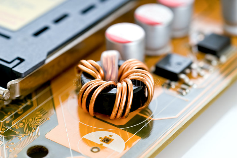 Electronic components. On a printed circuit board stock photo