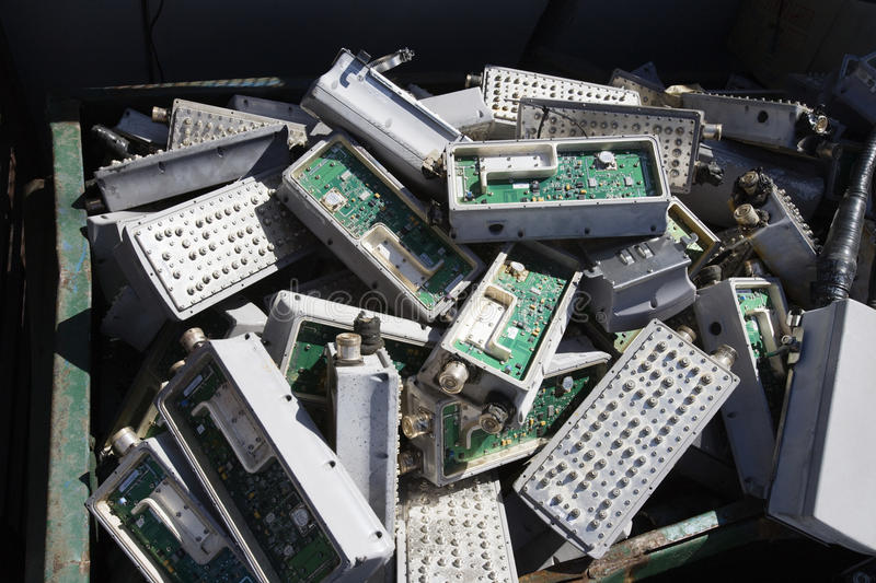 Electronic Components In Bin. Pile of old electronic components in bin stock images