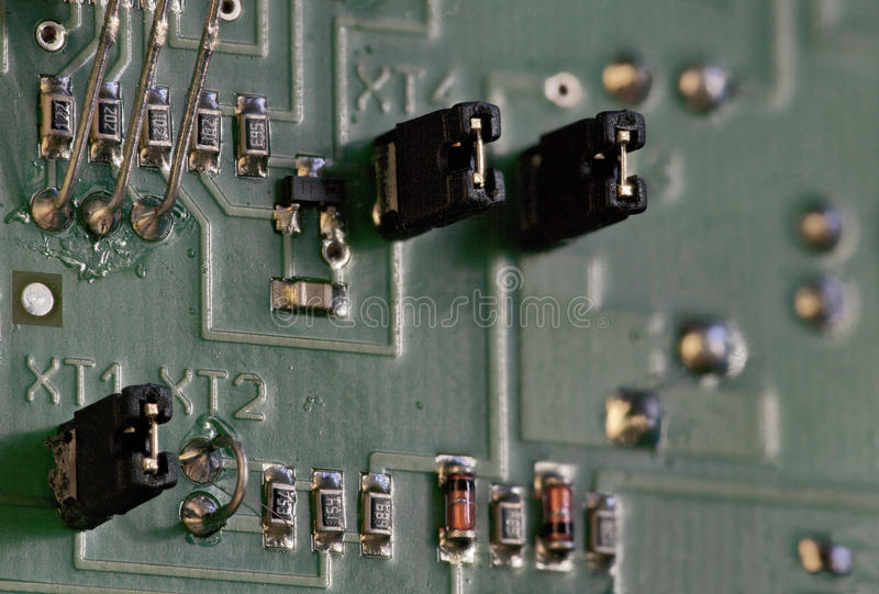 Electronic components circuit board. Electronic components on circuit board macro shot royalty free stock photo
