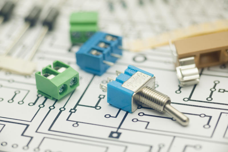 Electronic components. And PCB design stock photos