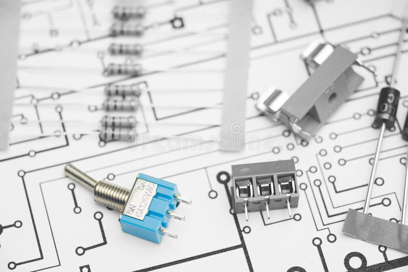 Electronic components. And PCB design royalty free stock image