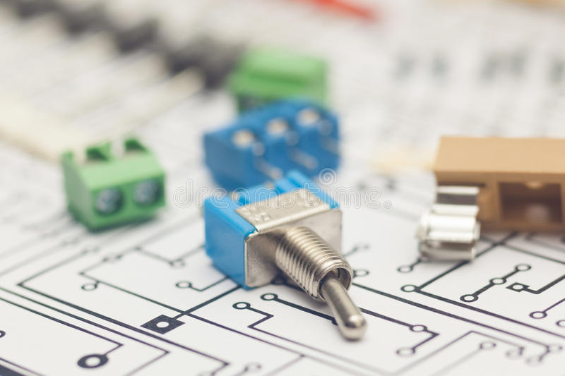 Electronic components. And PCB design royalty free stock images