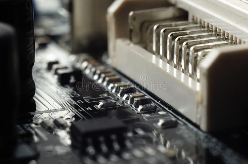 Electronic Components On The Printed-circuit Board Royalty Free Stock Photography