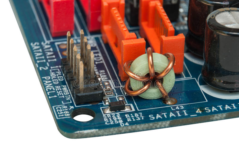 Electronic components. On a printed circuit board royalty free stock photo