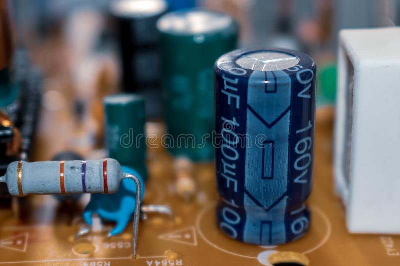 Electronic components of television stock photos