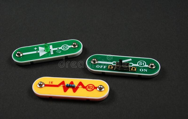 Electronic components used to build circuits stock photography