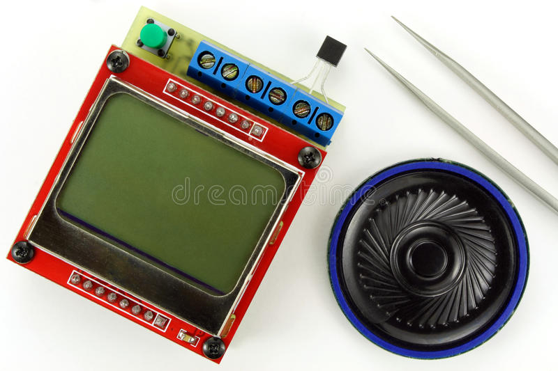 Electronic components on a white background royalty free stock image