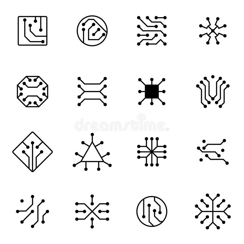 Electronic computer chip circuit and motherboard equipment vector icons. Electronic motherboard circuit illustration of equipment board microchip vector illustration