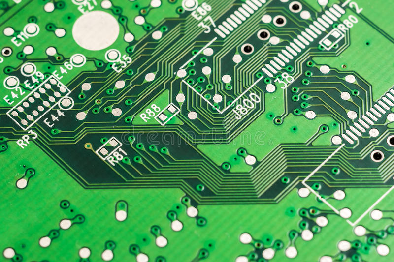 Electronic Computer Circuit Board. Close Up stock photo
