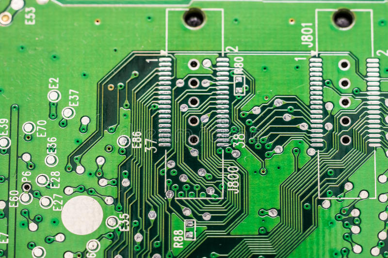 Electronic Computer Circuit Board. Close Up stock image