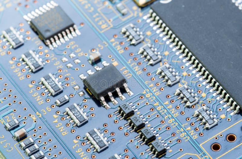 Electronic computer circuit board stock image
