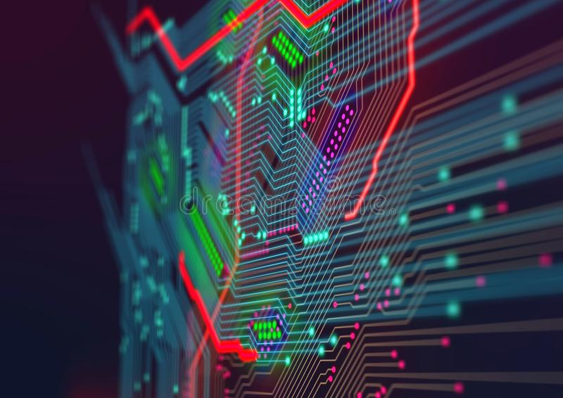 Electronic computer hardware technology. Template design. Electronic computer hardware technology. Abstract motherboard. Template design royalty free stock images