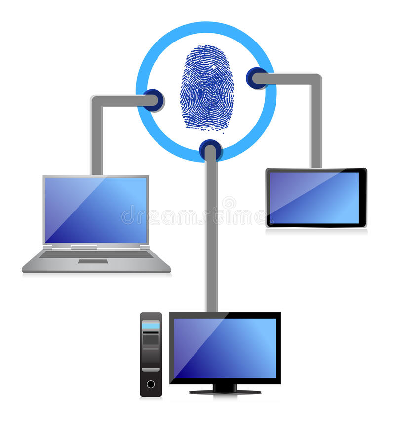 Download Electronic Connection Security Fingerprint Diagram Stock Illustration - Image: 28662491