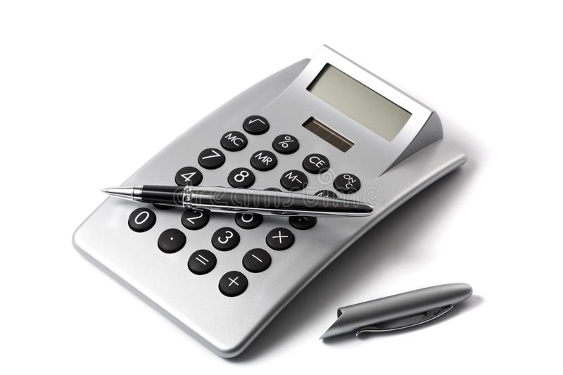Electronic desktop calculator and ballpoint pen. Isolated on white royalty free stock image