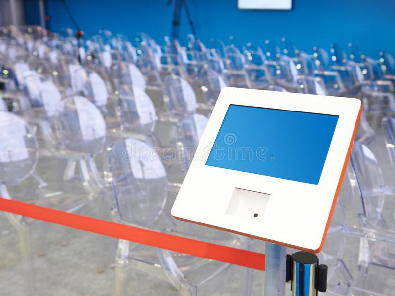 Electronic device for registering visitors. To the conference royalty free stock photo