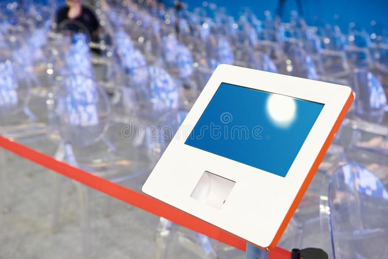 Electronic device for registering visitors conference. Electronic device for registering visitors to the conference royalty free stock images