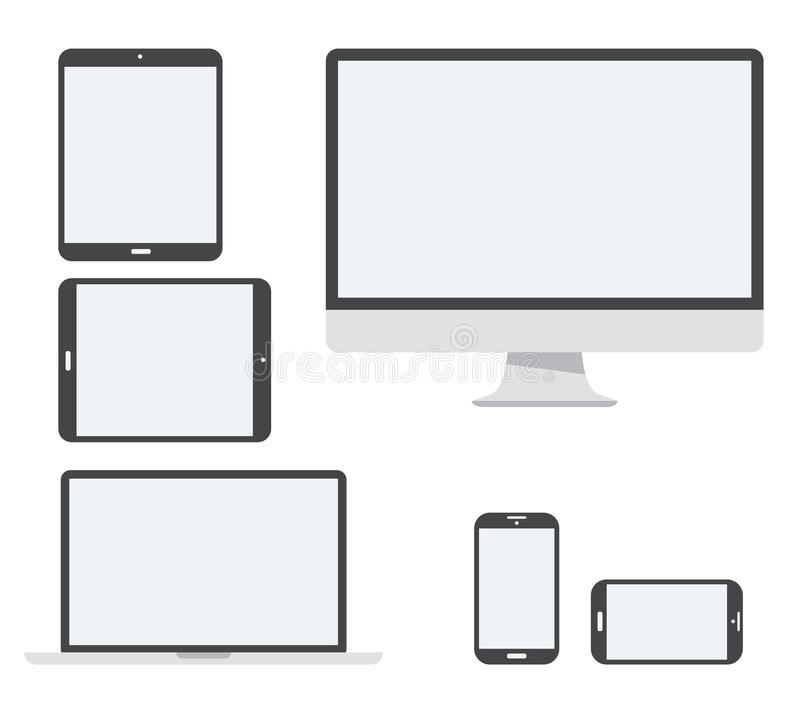 Electronic device vector icon set isolated on whit royalty free illustration