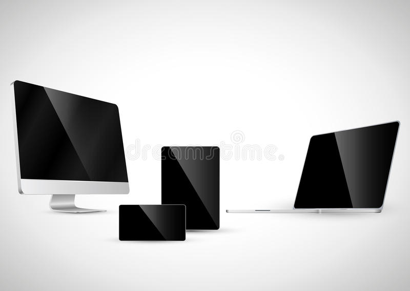 Electronic devices with black screen (Set 3). Electronic devices with black screen vector file Check sets 1, 2 and 4 royalty free illustration