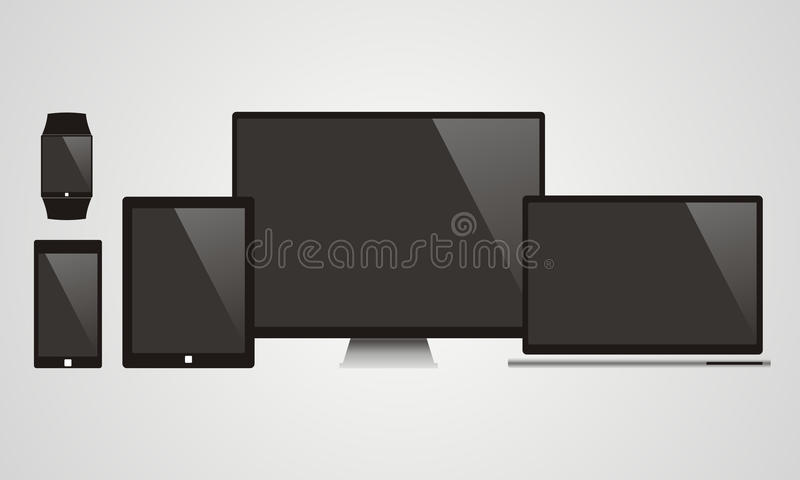 Electronic Devices with Black Screens - Electronic devices with royalty free illustration