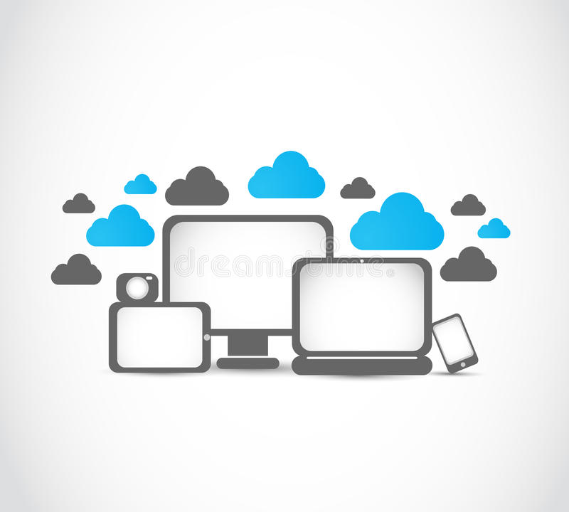 Electronic devices cloud computing royalty free stock photo