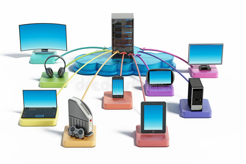 Electronic devices connected to the cloud network. 3D illustration. Electronic devices with smart functionalites connected to the cloud network. 3D illustration vector illustration
