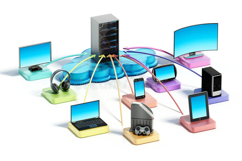 Electronic devices connected to the cloud network. 3D illustration. Electronic devices with smart functionalites connected to the cloud network. 3D illustration royalty free illustration