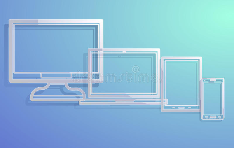 Electronic devices with empty screens vector illustration
