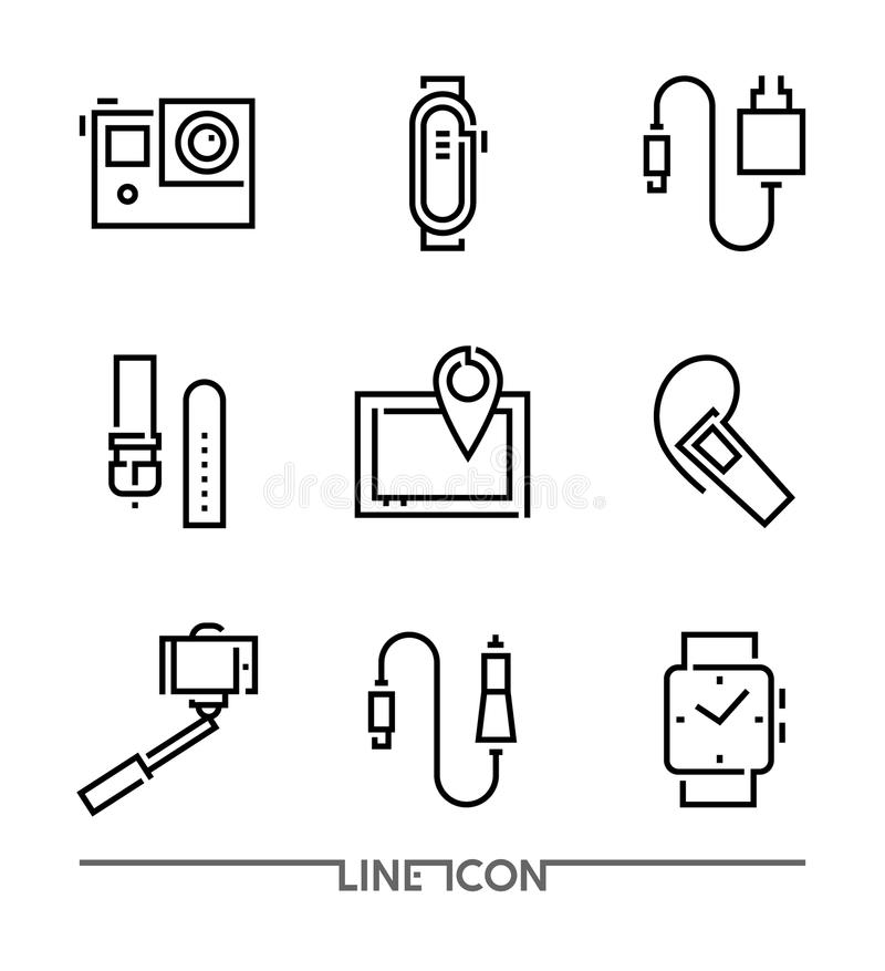 Electronic Devices flat thin line Icons vector; Electronic Appliances; Mobile Accessories. Set of Electronic Devices flat thin line Icons vector; Electronic vector illustration