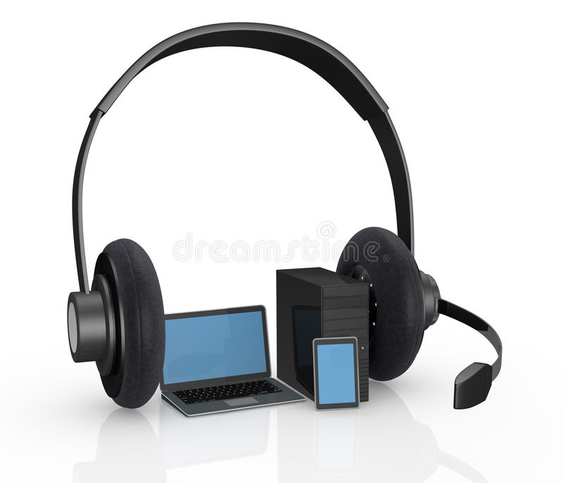 Download Electronic Devices With Headphones Stock Illustration - Illustration of headset, laptop: 26248508