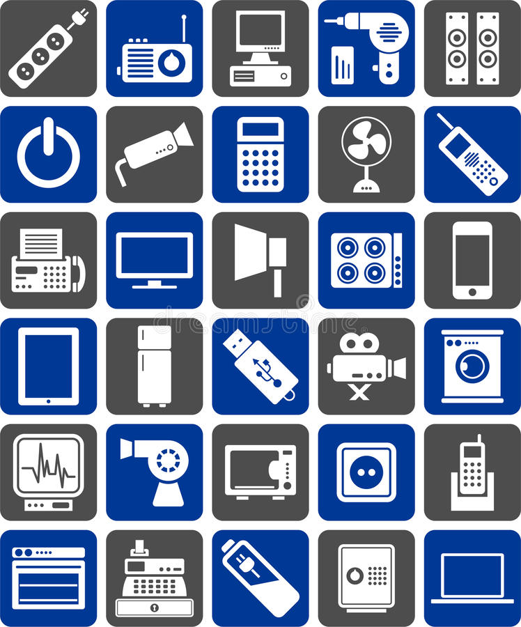 Download Electronic devices icons stock vector. Image of appliance - 24754599