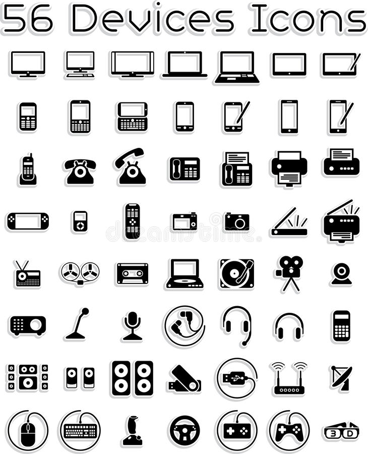 Electronic Devices Icons. Vector icons set covering electronic devices: computers, tablets, laptops, accessories. AI8 vector file included