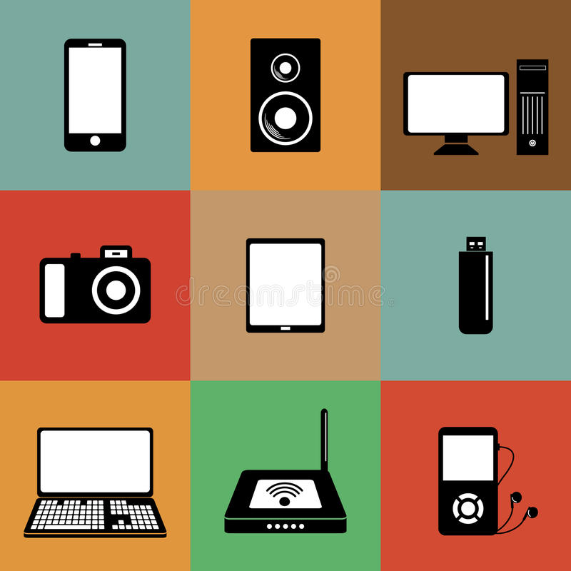 Download Electronic devices icons stock illustration. Image of software - 32062077