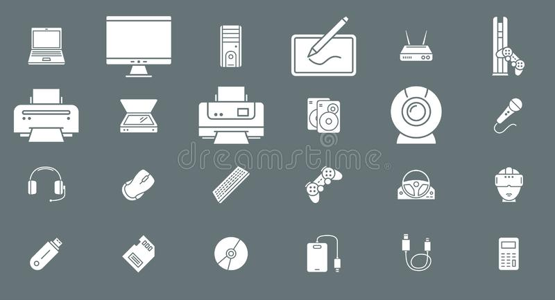 Electronic devices Icons 02 stock illustration